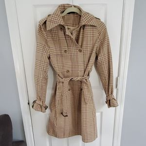 Plaid tan women's trench coat size small express